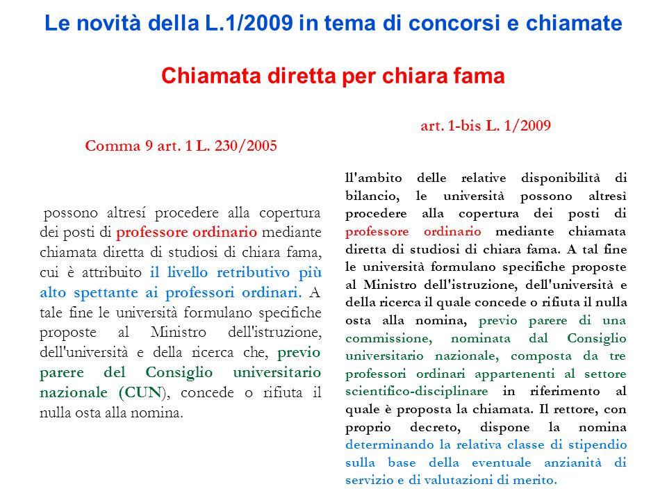 Le novità della L.1/2009 in tema di concorsi e chiamate Chiamata diretta per chiara fama Comma 9 art. 1 L. 230/2005 e possono altresí procedere alla c