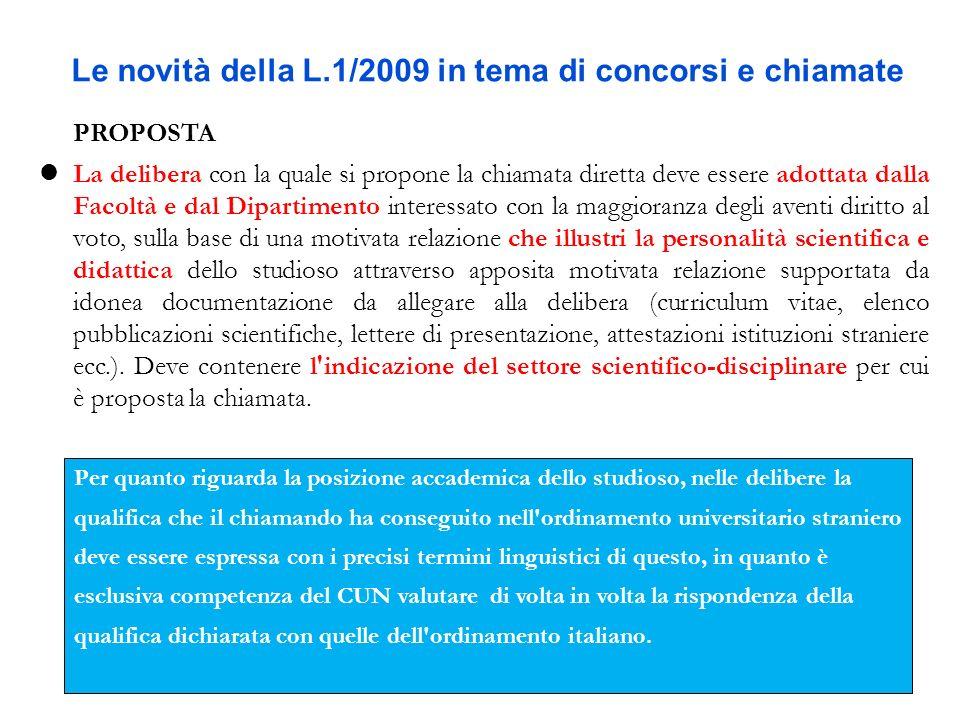 Le novità della L.1/2009 in tema di concorsi e chiamate PROPOSTA La delibera con la quale si propone la chiamata diretta deve essere adottata dalla Fa