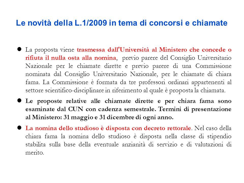 Le novità della L.1/2009 in tema di concorsi e chiamate La proposta viene trasmessa dall'Università al Ministero che concede o rifiuta il nulla osta a