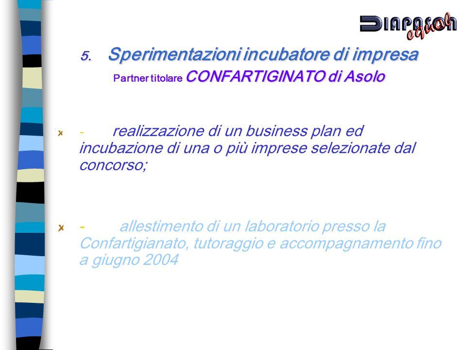 5. Sperimentazioni incubatore di impresa CONFARTIGINATO di Asolo Partner titolare CONFARTIGINATO di Asolo - realizzazione di un business plan ed incub