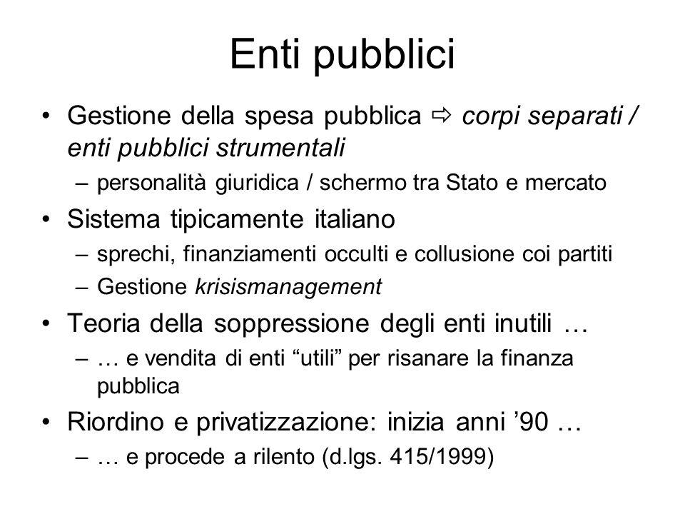 Enti pubblici Gestione della spesa pubblica corpi separati / enti pubblici strumentali –personalità giuridica / schermo tra Stato e mercato Sistema ti