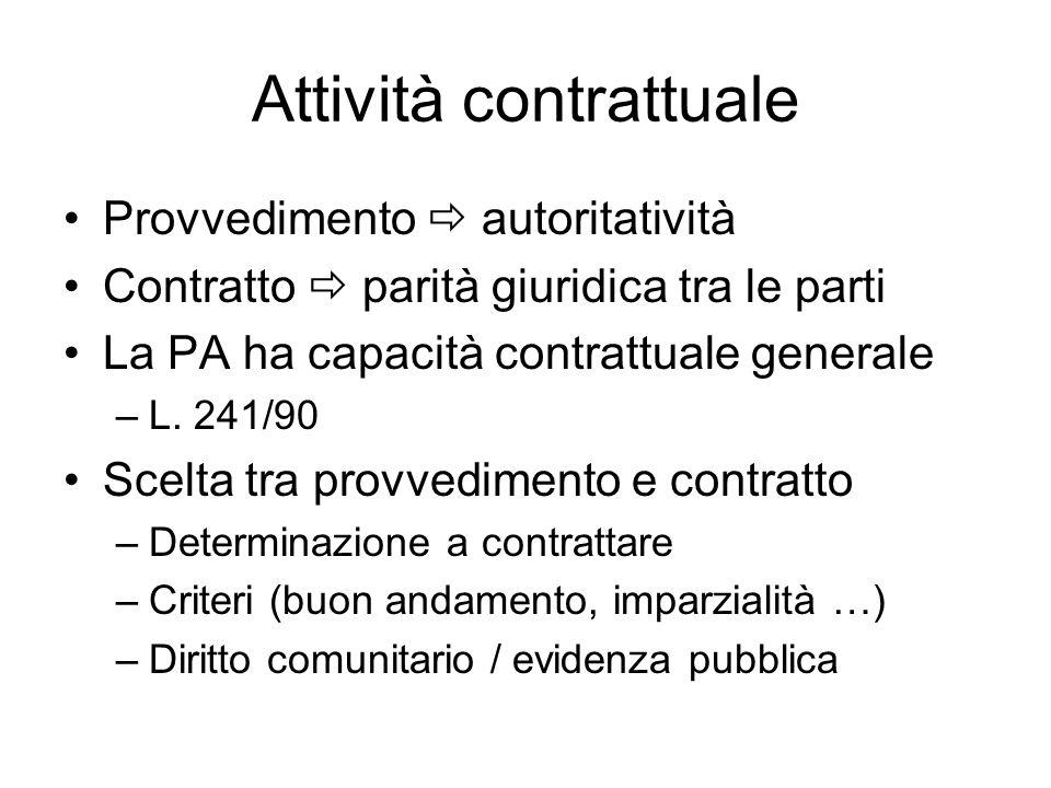 Attività contrattuale Provvedimento autoritatività Contratto parità giuridica tra le parti La PA ha capacità contrattuale generale –L. 241/90 Scelta t
