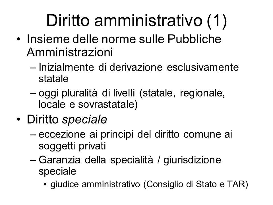 Diritto amministrativo (1) Insieme delle norme sulle Pubbliche Amministrazioni –Inizialmente di derivazione esclusivamente statale –oggi pluralità di