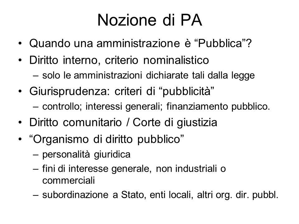 Nozione di PA Quando una amministrazione è Pubblica? Diritto interno, criterio nominalistico –solo le amministrazioni dichiarate tali dalla legge Giur