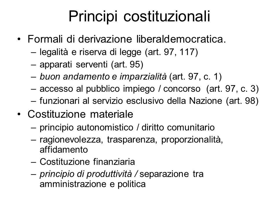Principi costituzionali Formali di derivazione liberaldemocratica. –legalità e riserva di legge (art. 97, 117) –apparati serventi (art. 95) –buon anda