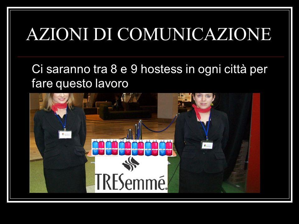 AZIONI DI COMUNICAZIONE Ci saranno tra 8 e 9 hostess in ogni città per fare questo lavoro