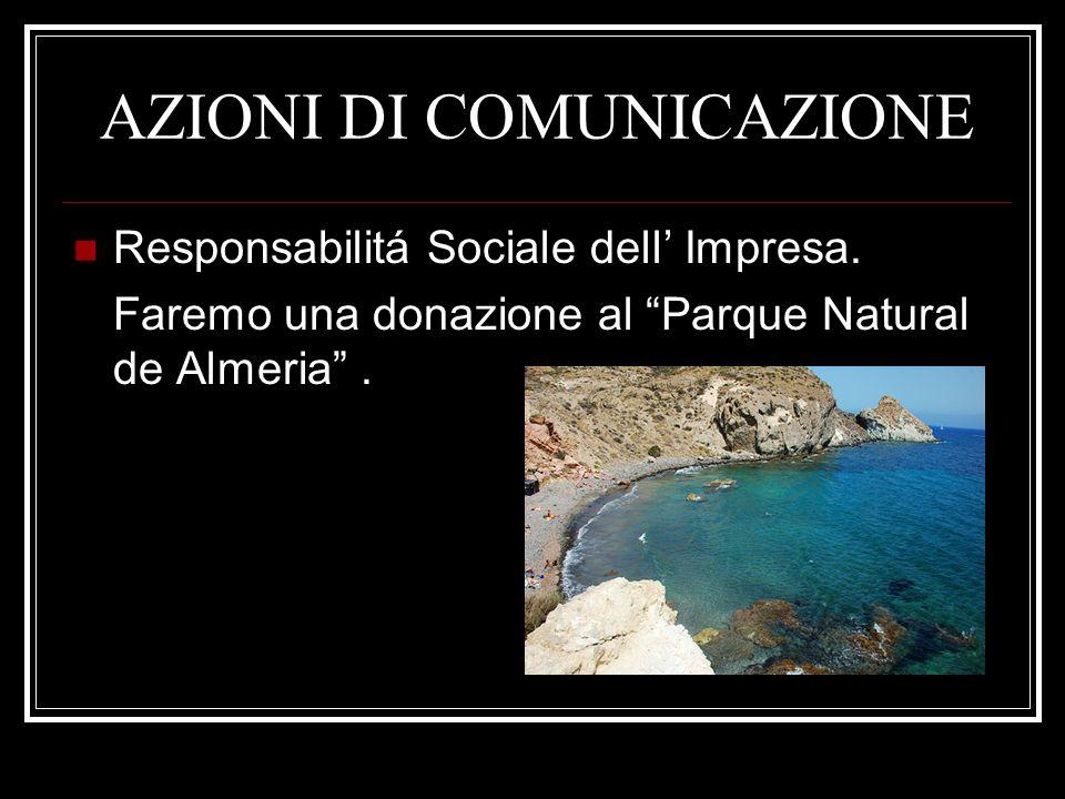 AZIONI DI COMUNICAZIONE Responsabilitá Sociale dell Impresa. Faremo una donazione al Parque Natural de Almeria.