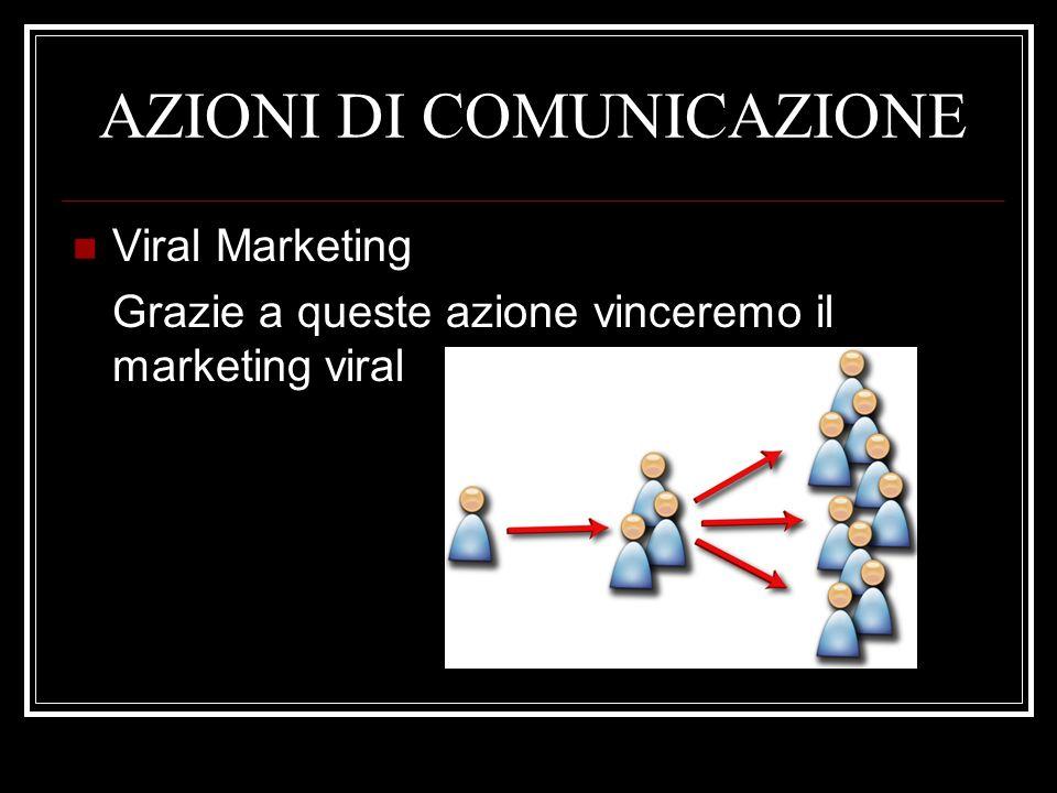 AZIONI DI COMUNICAZIONE Viral Marketing Grazie a queste azione vinceremo il marketing viral