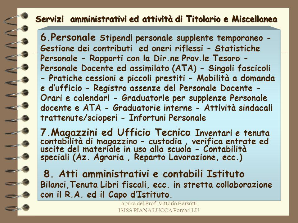 a cura del Prof. Vittorio Barsotti ISISS PIANA LUCCA Porcari LU Servizi amministrativi ed attività di Titolario e Miscellanea 6.Personale Stipendi per