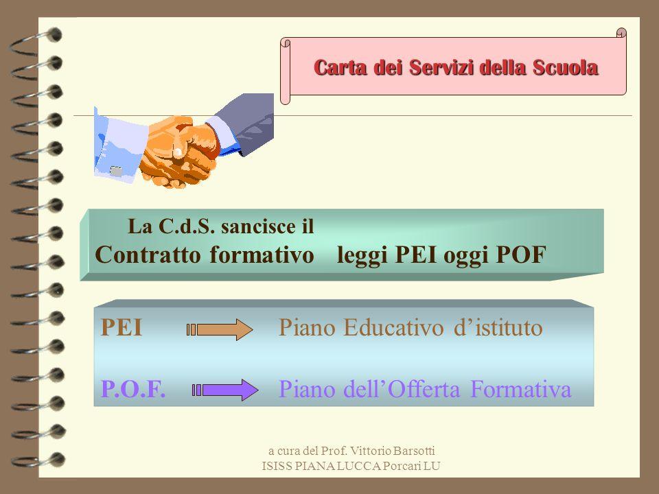 a cura del Prof. Vittorio Barsotti ISISS PIANA LUCCA Porcari LU Carta dei Servizi della Scuola La C.d.S. sancisce il Contratto formativo leggi PEI ogg