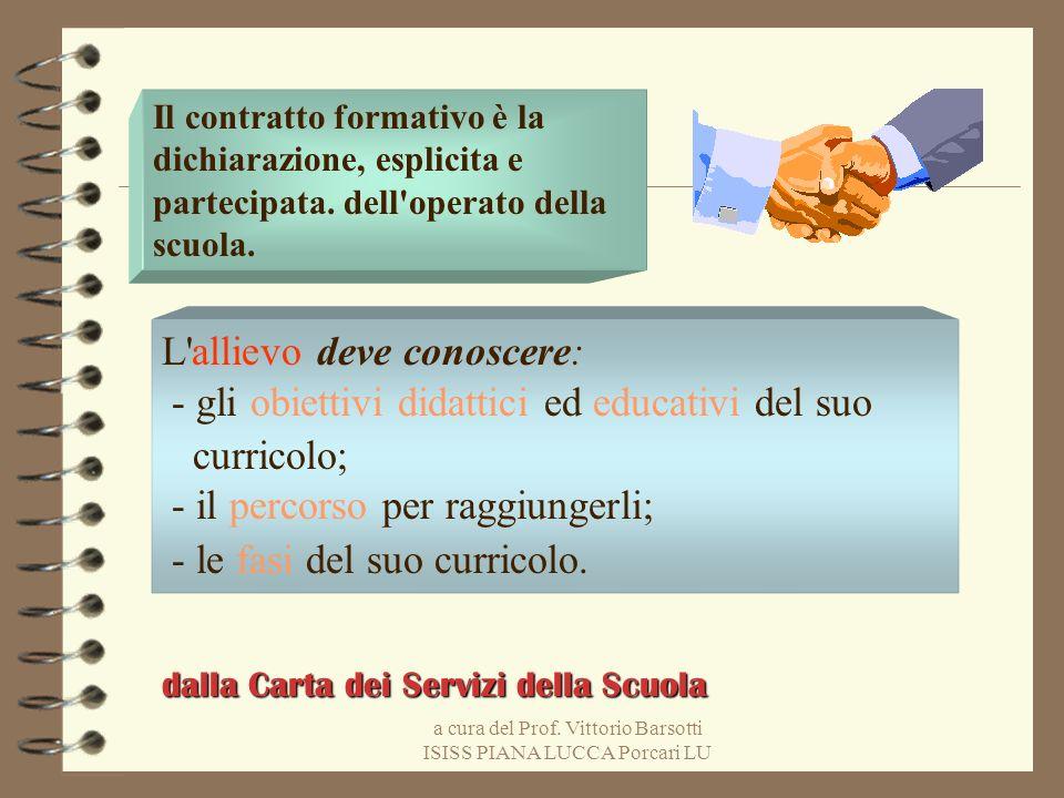 a cura del Prof. Vittorio Barsotti ISISS PIANA LUCCA Porcari LU Il contratto formativo è la dichiarazione, esplicita e partecipata. dell'operato della