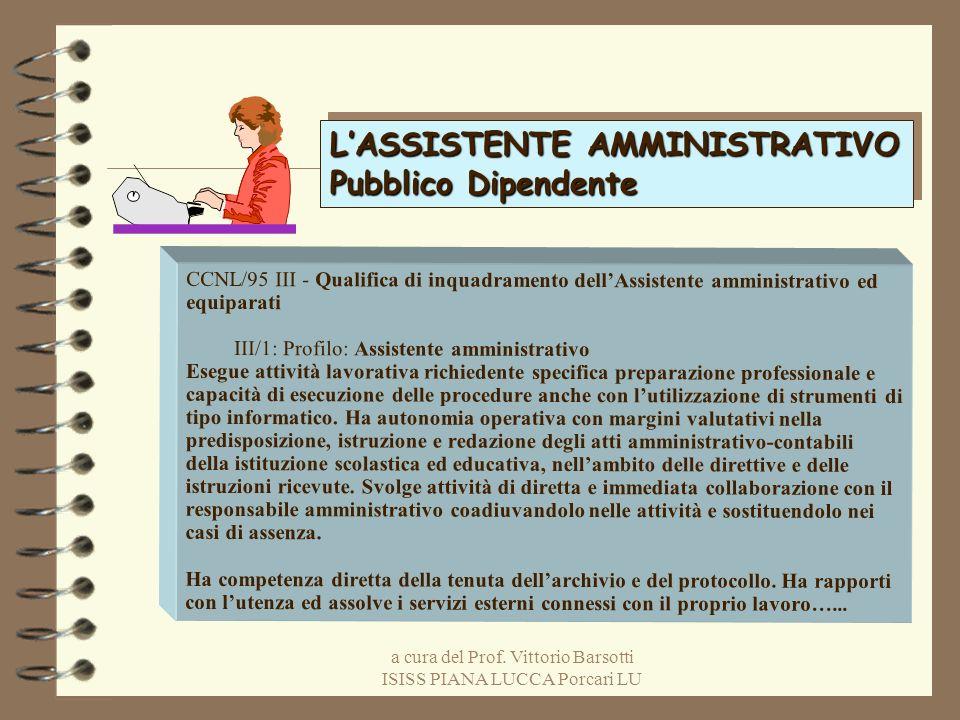 a cura del Prof. Vittorio Barsotti ISISS PIANA LUCCA Porcari LU LASSISTENTE AMMINISTRATIVO Pubblico Dipendente LASSISTENTE AMMINISTRATIVO Pubblico Dip