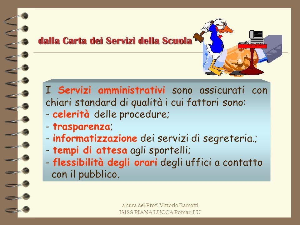 a cura del Prof. Vittorio Barsotti ISISS PIANA LUCCA Porcari LU I Servizi amministrativi sono assicurati con chiari standard di qualità i cui fattori