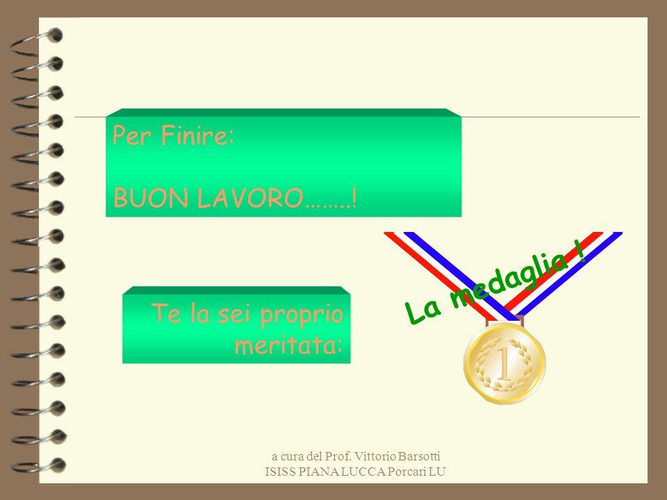 a cura del Prof. Vittorio Barsotti ISISS PIANA LUCCA Porcari LU Per Finire: BUON LAVORO……..! Te la sei proprio meritata: La medaglia !