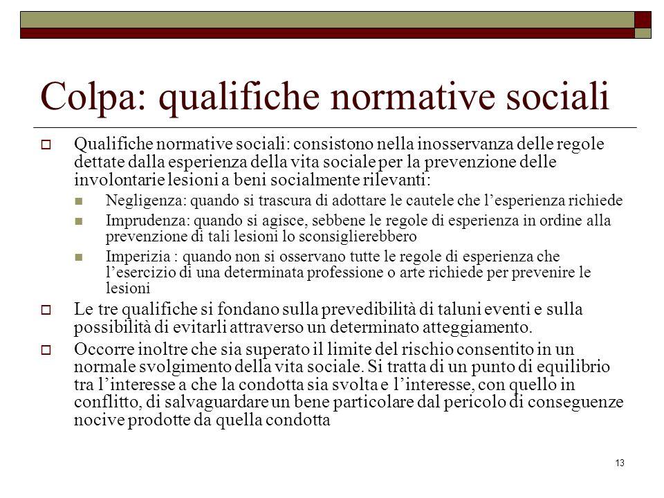 13 Colpa: qualifiche normative sociali Qualifiche normative sociali: consistono nella inosservanza delle regole dettate dalla esperienza della vita so