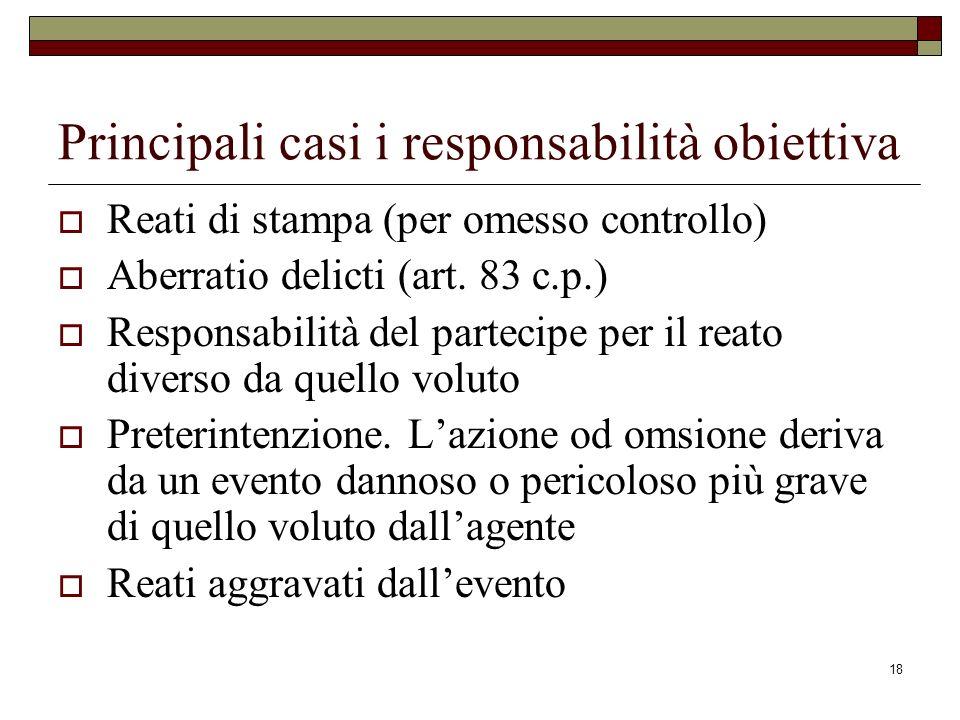 18 Principali casi i responsabilità obiettiva Reati di stampa (per omesso controllo) Aberratio delicti (art. 83 c.p.) Responsabilità del partecipe per