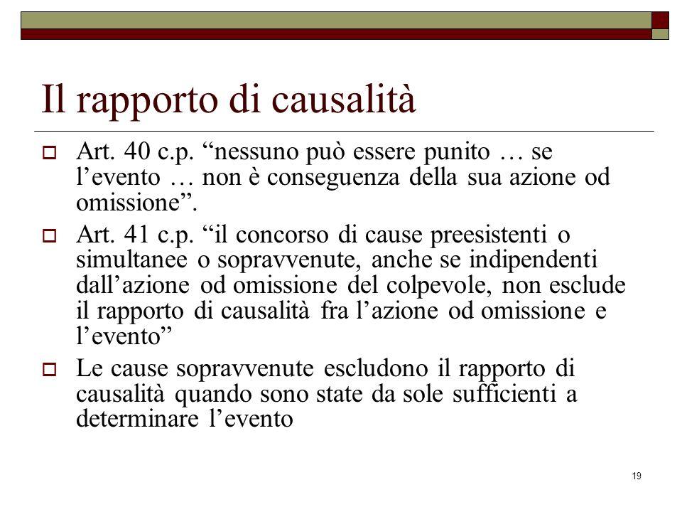 19 Il rapporto di causalità Art. 40 c.p. nessuno può essere punito … se levento … non è conseguenza della sua azione od omissione. Art. 41 c.p. il con