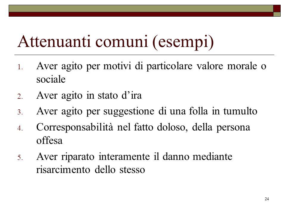 24 Attenuanti comuni (esempi) 1. Aver agito per motivi di particolare valore morale o sociale 2. Aver agito in stato dira 3. Aver agito per suggestion