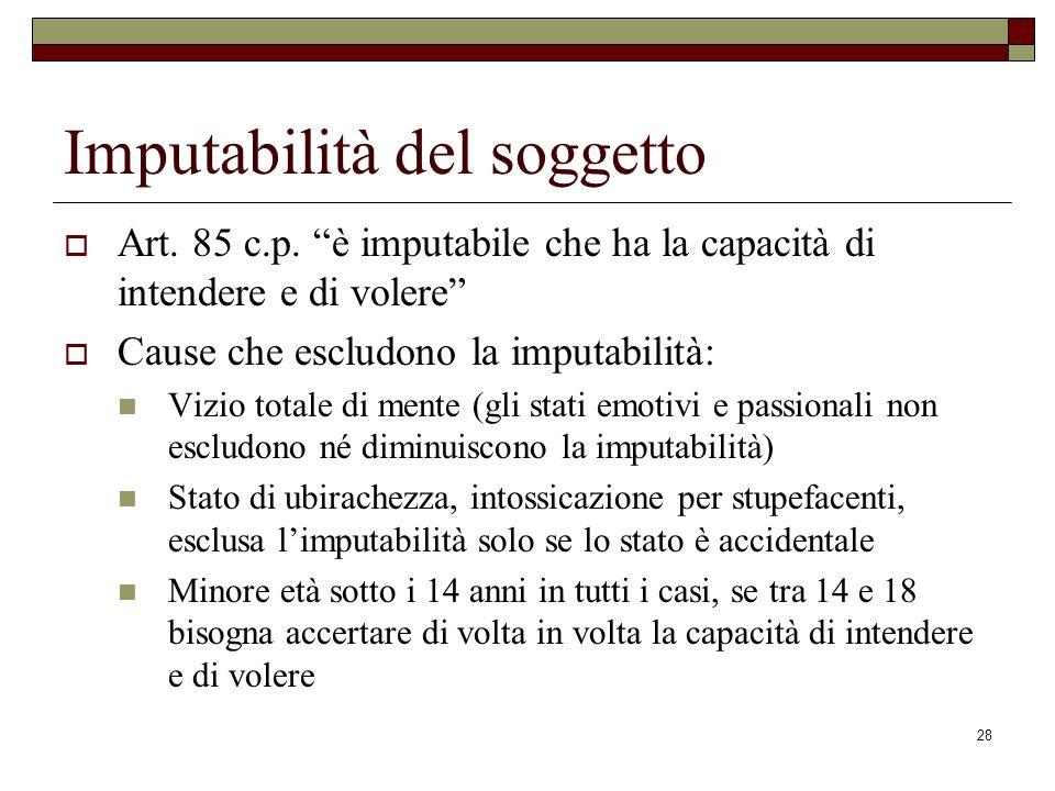 28 Imputabilità del soggetto Art. 85 c.p. è imputabile che ha la capacità di intendere e di volere Cause che escludono la imputabilità: Vizio totale d