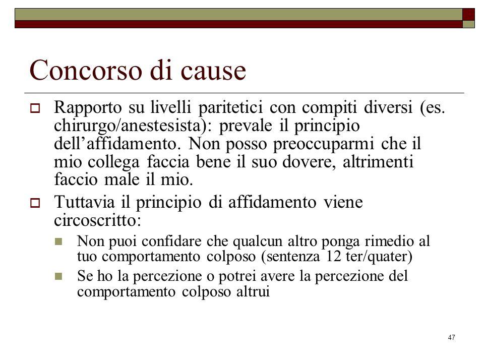 47 Concorso di cause Rapporto su livelli paritetici con compiti diversi (es. chirurgo/anestesista): prevale il principio dellaffidamento. Non posso pr
