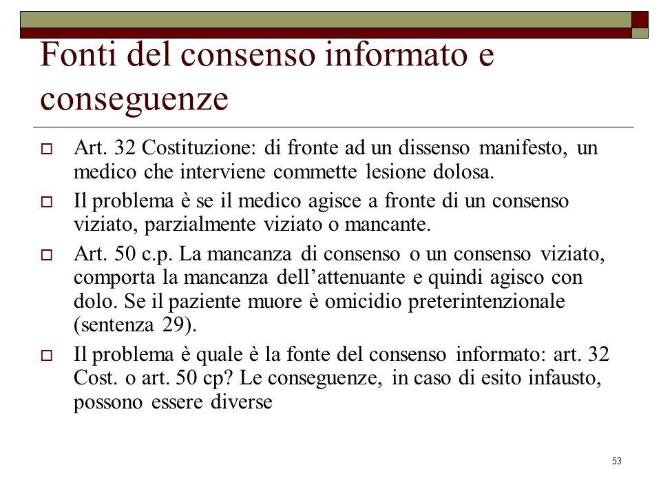 53 Fonti del consenso informato e conseguenze Art. 32 Costituzione: di fronte ad un dissenso manifesto, un medico che interviene commette lesione dolo