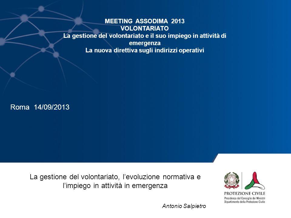 La gestione del volontariato, levoluzione normativa e limpiego in attività in emergenza Antonio Salpietro MEETING ASSODIMA 2013 VOLONTARIATO La gestio