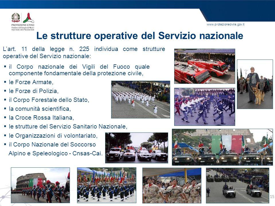 www.protezionecivile.gov.it Le strutture operative del Servizio nazionale Lart. 11 della legge n. 225 individua come strutture operative del Servizio