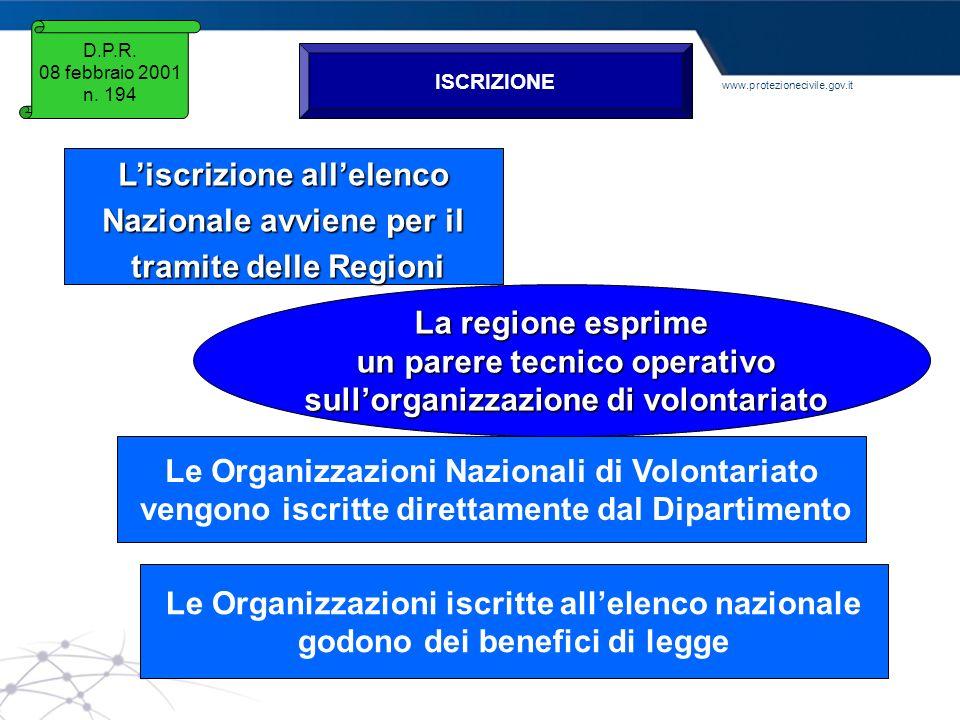 www.protezionecivile.gov.it Liscrizione allelenco Nazionale avviene per il tramite delle Regioni tramite delle Regioni La regione esprime un parere te