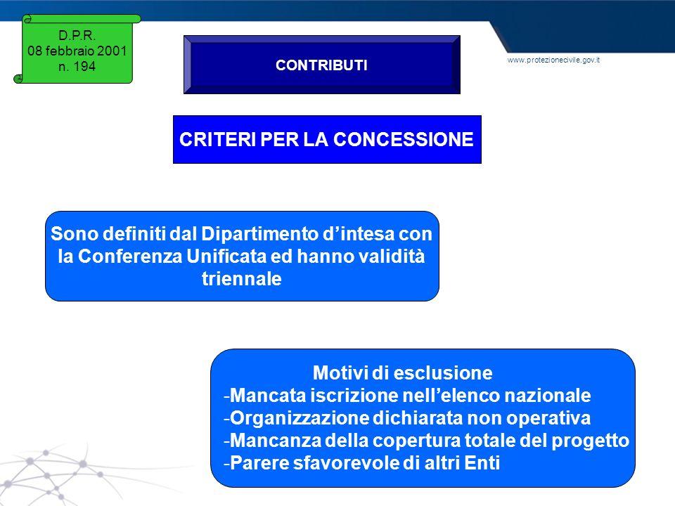 www.protezionecivile.gov.it D.P.R. 08 febbraio 2001 n. 194 CONTRIBUTI CRITERI PER LA CONCESSIONE Sono definiti dal Dipartimento dintesa con la Confere