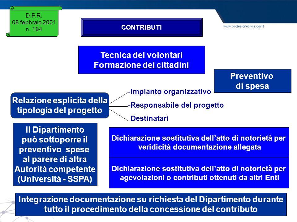 www.protezionecivile.gov.it D.P.R. 08 febbraio 2001 n. 194 CONTRIBUTI Tecnica dei volontari Formazione dei cittadini Relazione esplicita della tipolog