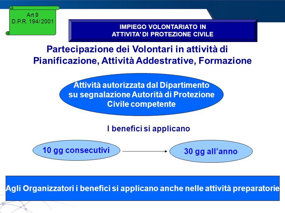 www.protezionecivile.gov.it Art 9 D.P.R. 194/ 2001 IMPIEGO VOLONTARIATO IN ATTIVITA DI PROTEZIONE CIVILE Partecipazione dei Volontari in attività di P