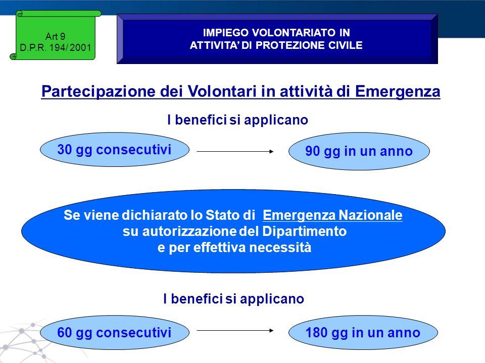 www.protezionecivile.gov.it Art 9 D.P.R. 194/ 2001 IMPIEGO VOLONTARIATO IN ATTIVITA DI PROTEZIONE CIVILE Partecipazione dei Volontari in attività di E