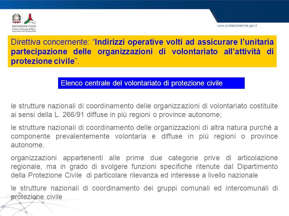 www.protezionecivile.gov.it Elenco centrale del volontariato di protezione civile le strutture nazionali di coordinamento delle organizzazioni di volo