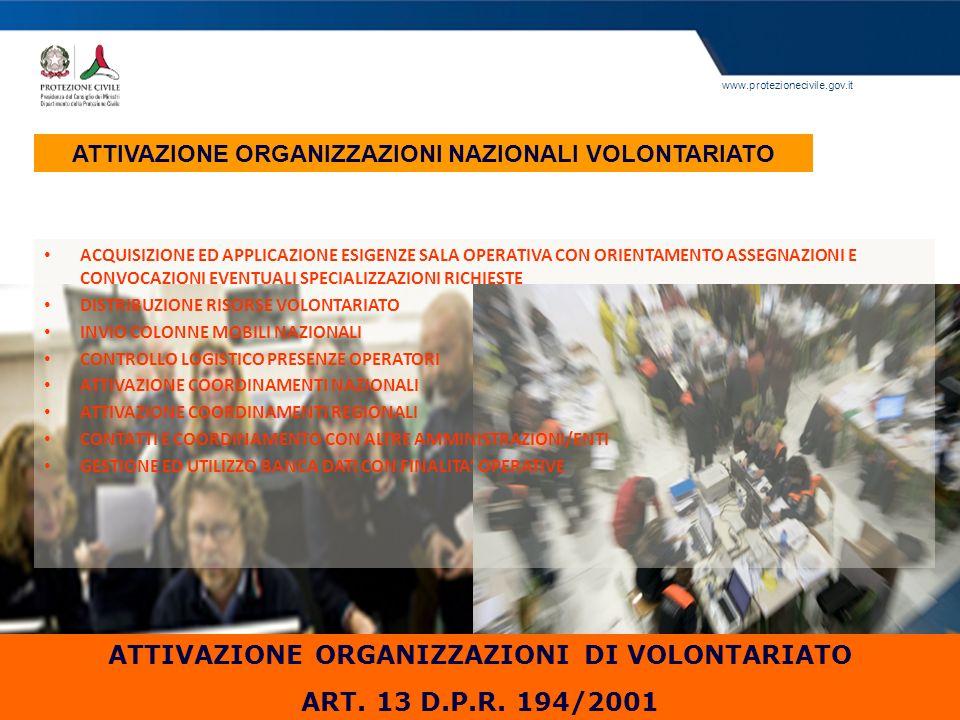 www.protezionecivile.gov.it ATTIVAZIONE ORGANIZZAZIONI NAZIONALI VOLONTARIATO ATTIVAZIONE ORGANIZZAZIONI DI VOLONTARIATO ART. 13 D.P.R. 194/2001 ACQUI