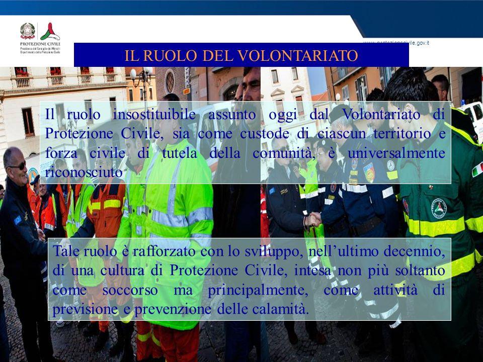www.protezionecivile.gov.it IL RUOLO DEL VOLONTARIATO Il ruolo insostituibile assunto oggi dal Volontariato di Protezione Civile, sia come custode di