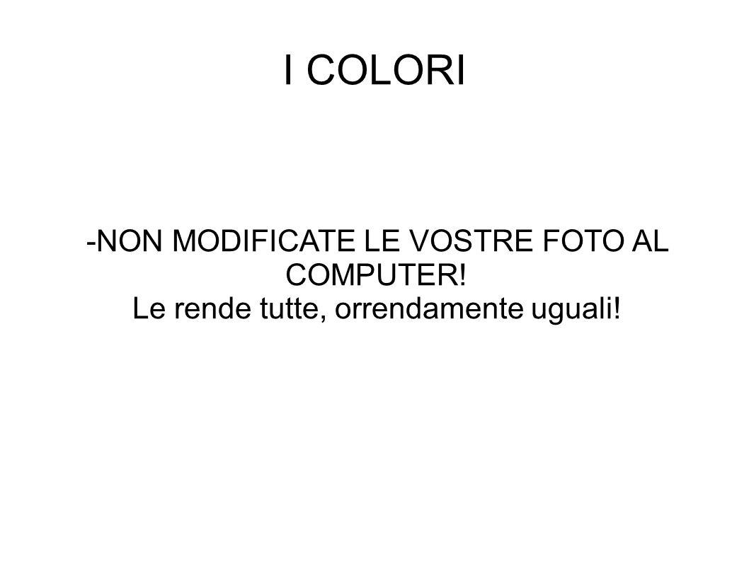 I COLORI -NON MODIFICATE LE VOSTRE FOTO AL COMPUTER! Le rende tutte, orrendamente uguali!
