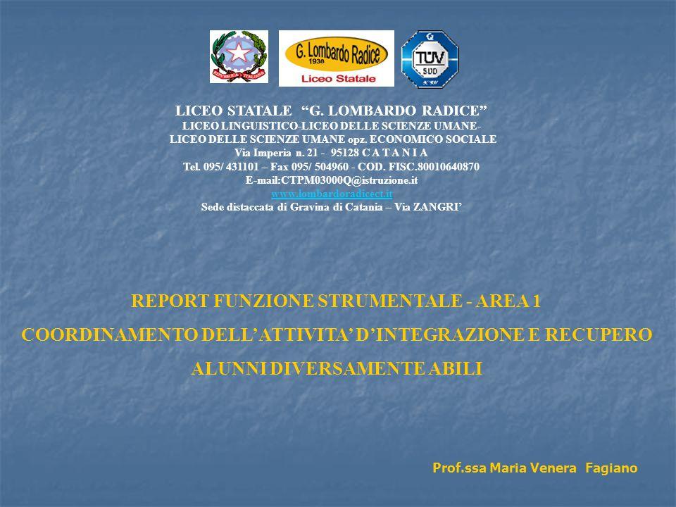 REPORT FUNZIONE STRUMENTALE - AREA 1 COORDINAMENTO DELLATTIVITA DINTEGRAZIONE E RECUPERO ALUNNI DIVERSAMENTE ABILI Prof.ssa Maria Venera Fagiano LICEO STATALE G.