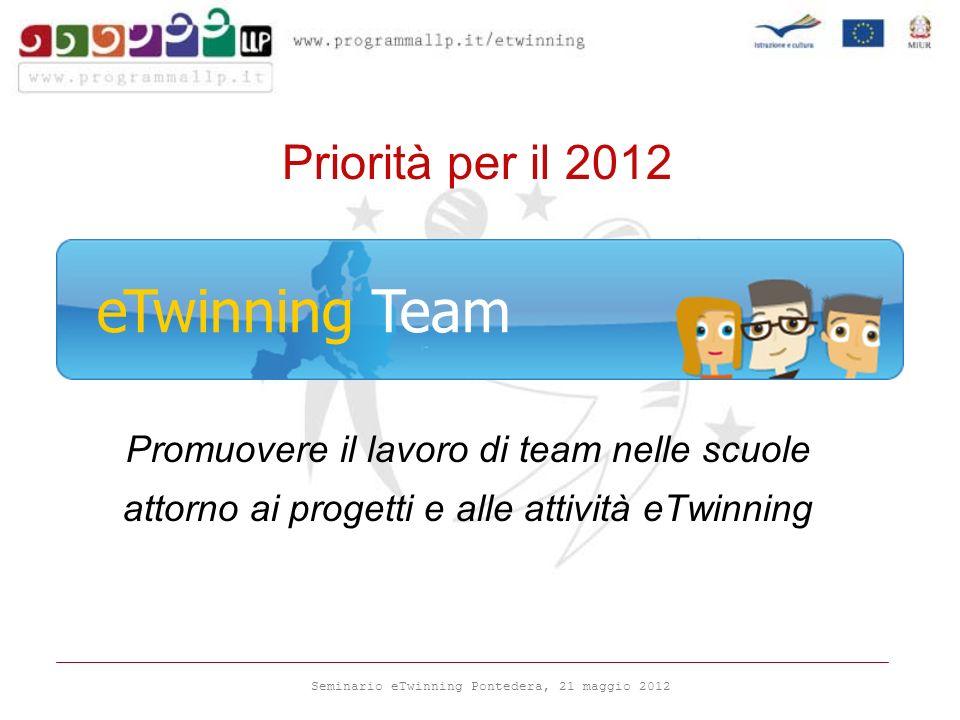 Seminario eTwinning Pontedera, 21 maggio 2012 Priorità per il 2012 Promuovere il lavoro di team nelle scuole attorno ai progetti e alle attività eTwinning eTwinning Team