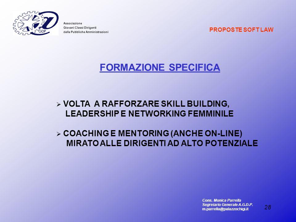 28 Associazione Giovani Classi Dirigenti delle Pubbliche Amministrazioni FORMAZIONE SPECIFICA VOLTA A RAFFORZARE SKILL BUILDING, LEADERSHIP E NETWORKI