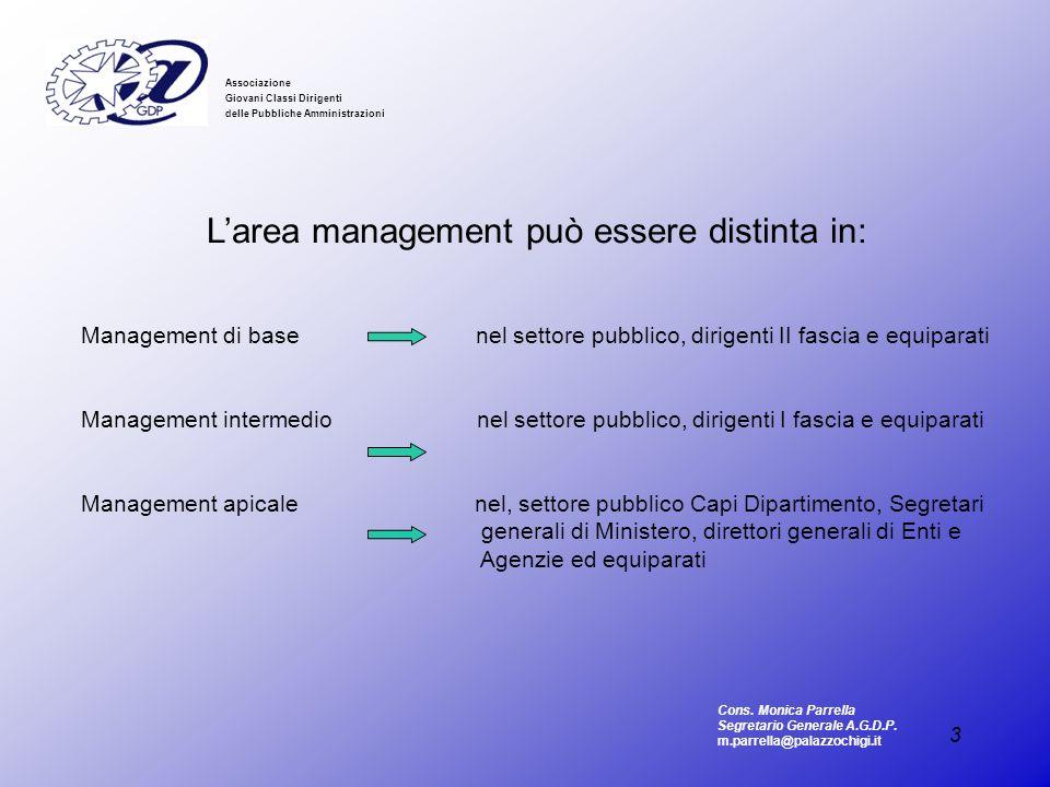 3 Associazione Giovani Classi Dirigenti delle Pubbliche Amministrazioni Larea management può essere distinta in: Management di base nel settore pubbli
