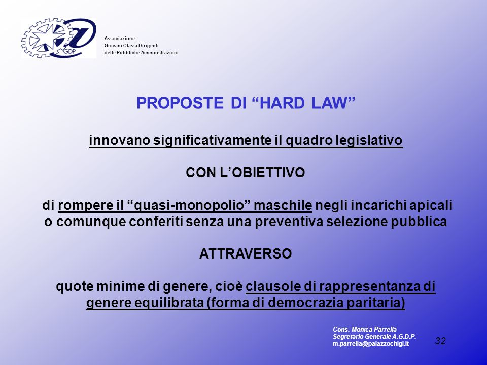 32 Associazione Giovani Classi Dirigenti delle Pubbliche Amministrazioni PROPOSTE DI HARD LAW innovano significativamente il quadro legislativo CON LO
