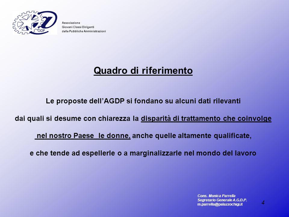 4 Associazione Giovani Classi Dirigenti delle Pubbliche Amministrazioni Quadro di riferimento Le proposte dellAGDP si fondano su alcuni dati rilevanti