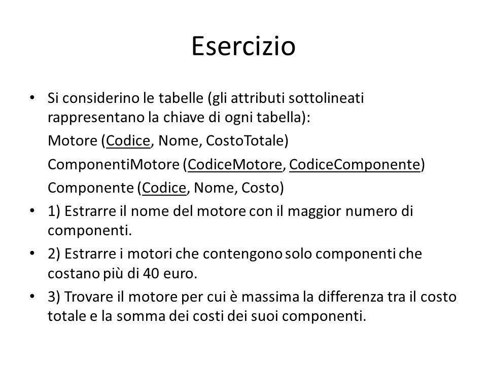 Esercizio Si considerino le tabelle (gli attributi sottolineati rappresentano la chiave di ogni tabella): Motore (Codice, Nome, CostoTotale) Component