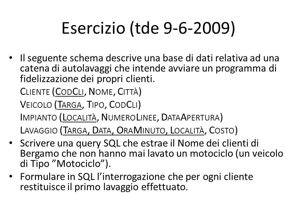 Esercizio (tde 9-6-2009) Il seguente schema descrive una base di dati relativa ad una catena di autolavaggi che intende avviare un programma di fideli