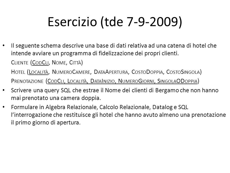Esercizio (tde 7-9-2009) Il seguente schema descrive una base di dati relativa ad una catena di hotel che intende avviare un programma di fidelizzazio