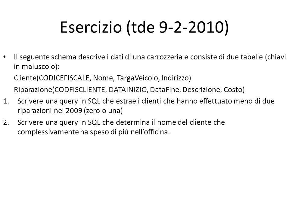 Esercizio (tde 9-2-2010) Il seguente schema descrive i dati di una carrozzeria e consiste di due tabelle (chiavi in maiuscolo): Cliente(CODICEFISCALE,