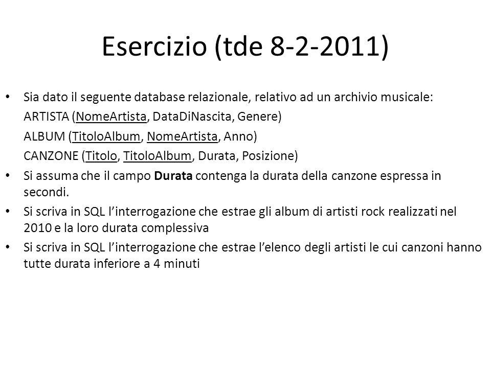 Esercizio (tde 8-2-2011) Sia dato il seguente database relazionale, relativo ad un archivio musicale: ARTISTA (NomeArtista, DataDiNascita, Genere) ALB