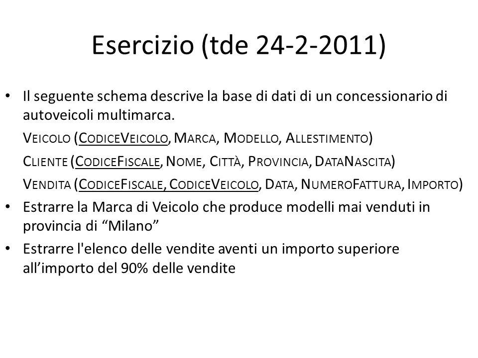 Esercizio (tde 24-2-2011) Il seguente schema descrive la base di dati di un concessionario di autoveicoli multimarca. V EICOLO (C ODICE V EICOLO, M AR