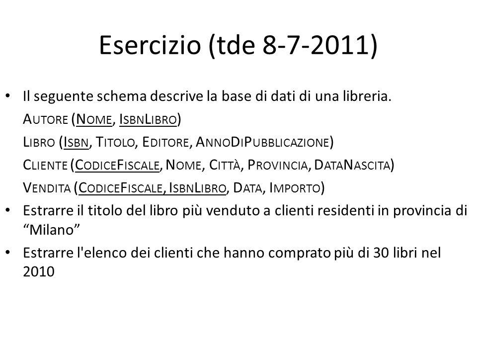 Esercizio (tde 8-7-2011) Il seguente schema descrive la base di dati di una libreria. A UTORE (N OME, I SBN L IBRO ) L IBRO (I SBN, T ITOLO, E DITORE,