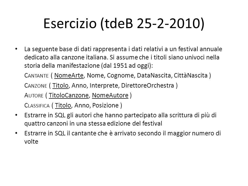 Esercizio (tdeB 25-2-2010) La seguente base di dati rappresenta i dati relativi a un festival annuale dedicato alla canzone italiana. Si assume che i